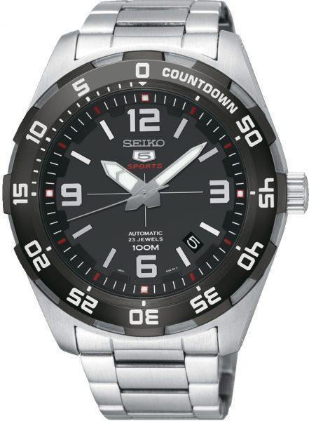 Seiko SRPB81K1 5 Sports Automatik Uhr 10 bar Edelstahl schwarz graues Zifferblatt