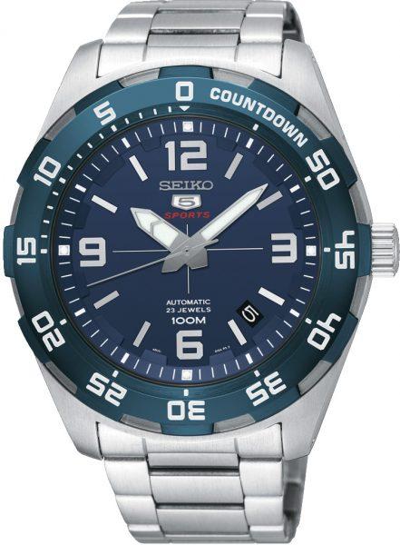 Seiko SRPB85K1 5 Sports Automatik Uhr 10 bar Edelstahl blaues Zifferblatt