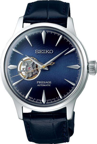 Seiko SSA405J1 Cocktail Time Presage Automatik Uhr blaues Zifferblatt Herrenuhr Edelstahl dunkelblaues Lederarmband