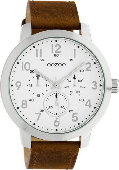 OOZOO Herrenuhr C10505 Quarzwerk Braunes Lederarmband 45mm