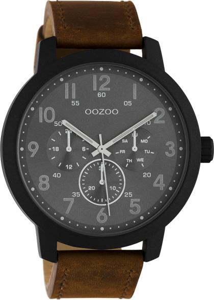OOZOO Herrenuhr C10507 Quarzwerk Braunes Lederarmband 45mm
