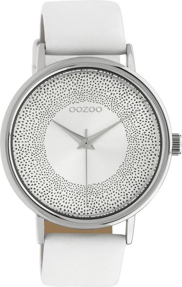 OOZOO Damenuhr C10575 Quarzwerk Weißes Lederarmband 42mm