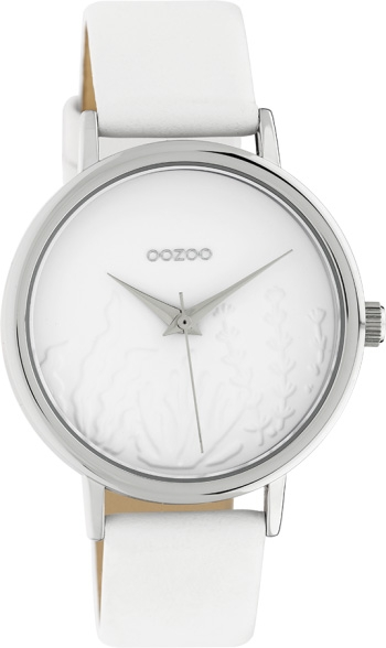 OOZOO Damenuhr C10600 Quarzwerk Weißes Lederarmband 36mm
