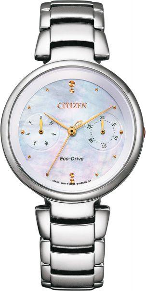 Citizen Uhr FD1106-81D Damen Eco Drive Edelstahl Perlmutt Zifferblatt Solar 5 bar