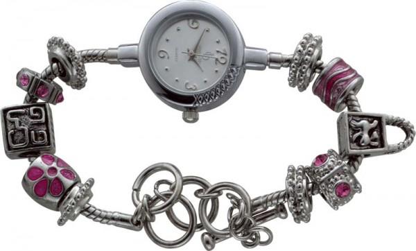 Stylisches Armband mit Quarzwerk, Armband 18cm + 5cm Verlängerung und 6 pinkfarbenen Motiv- und 4 Stopperbeads, hochwertige IPF Schutzlegierung aus Metall – ist nur Spritzwassergeschützt. Zum Hammerpreis aus dem Hause Abramowicz.  Besuchen Si