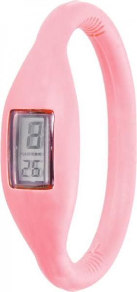 Plastichic Quarzwerk, Silkionarmband in baby pink, 3 ATM, Digitalanzeige, Umfang 16cm. Eine sehr schöne Uhr zum Hammerpreis vom größten Uhrenhändler Deutschlands. ABRAMOWICZ – die Nr. 1 für Schmuck und Uhren.