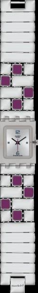 Swatch Purple Quadrilita Uhr mit  Quarzw...