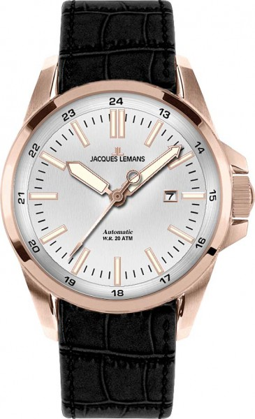 Jacques Lemans Liverpool 1-1516M Armbanduhr, Automatik, massives Edelstahlgehäuse IP-Rose, Lederband schwarz, gehärtetes Crystexglas, Datum, 20 ATM, 44x13mm