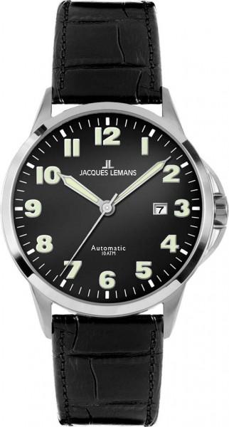 Jacques Lemans Sydney 1-1541A Herrenarmbanduhr, Automatik, massives Edelstahlgehäuse, Lederband schwarz, gehärtetes Crystexglas, Datum, 10 ATM, 42x12mm