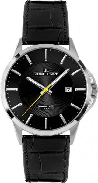 Jacques Lemans Sydney 1-1541B Herrenarmbanduhr, Automatik, massiv Edelstahlgehäuse, Lederband schwarz, gehärtetes Crystexglas, 10 ATM, 42x12mm