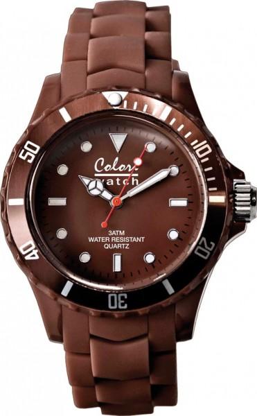 Bunte Uhren von Colori aus dem Hause Abramowicz, eine absolut trendige Quarzwerk Uhr mit braunem Ziffernblatt. Die Uhr hat ein Kratzunempfindliches Mineralglas, desweiteren besitzt die Uhr ein kunststoffgehäuse und ein butterweiches und angenehmes Silikon