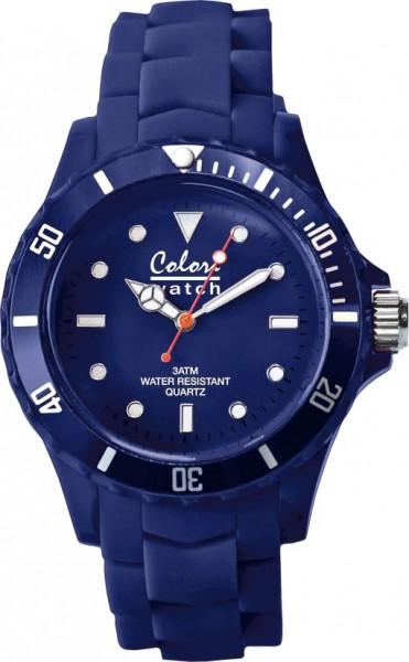 Bunte Uhren von Colori, eine absolut trendige Quarzwerk Uhr mit dunkelblauem Ziffernblatt. Die Uhr hat ein Kratzunempfindliches Mineralglas, desweiteren besitzt die Uhr ein kunststoffgehäuse und ein butterweiches und angenehmes Silikonband. Die Lünette is