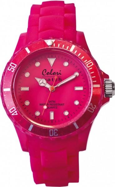 ICEBunte Uhren von Colori, eine absolut trendige Quarzwerk Uhr mit pinkem Ziffernblatt. Die Uhr hat ein Kratzunempfindliches Mineralglas, desweiteren besitzt die Uhr ein kunststoffgehäuse und ein butterweiches und angenehmes Silikonband. Die Lünette ist e
