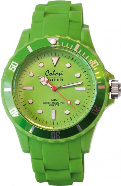 Bunte Uhren von Colori, eine absolut trendige Quarzwerk Uhr mit grünem Ziffernblatt. Die Uhr hat ein Kratzunempfindliches Mineralglas, desweiteren besitzt die Uhr ein kunststoffgehäuse und ein butterweiches und angenehmes Silikonband. Die Lünette ist eben