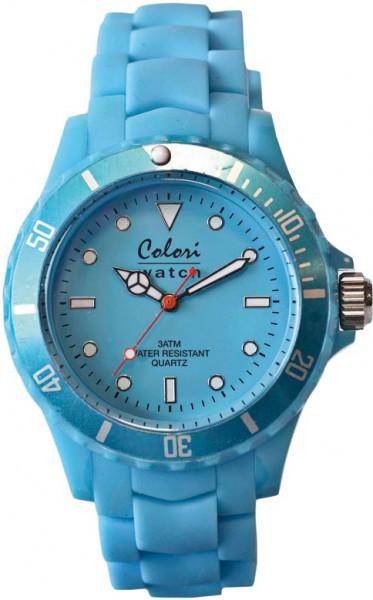 Bunte Uhren von Colori, eine absolut trendige Quarzwerk Uhr mit blauem Ziffernblatt. Die Uhr hat ein Kratzunempfindliches Mineralglas, desweiteren besitzt die Uhr ein kunststoffgehäuse und ein butterweiches und angenehmes Silikonband. Die Lünette ist eben