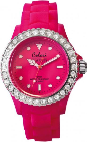 Bunte Uhren von Colori aus dem Hause Abramowicz, eine total stylische Quarzwerk Uhr mit pinkem Ziffernblatt und im Dunkeln leuchtende Zeiger. Die Uhr zeichnet sich durch das Kratzunempfindliche Mineralglas aus, desweiteren besitzt die Uhr ein Kunststoffge