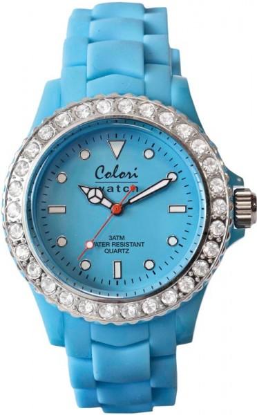 Bunte Uhren von Colori aus dem Hause Abramowicz, eine total stylische Quarzwerk Uhr mit himmelblauem Ziffernblatt und im Dunkeln leuchtende Zeiger. Die Uhr zeichnet sich durch das Kratzunempfindliche Mineralglas aus, desweiteren besitzt die Uhr ein massiv