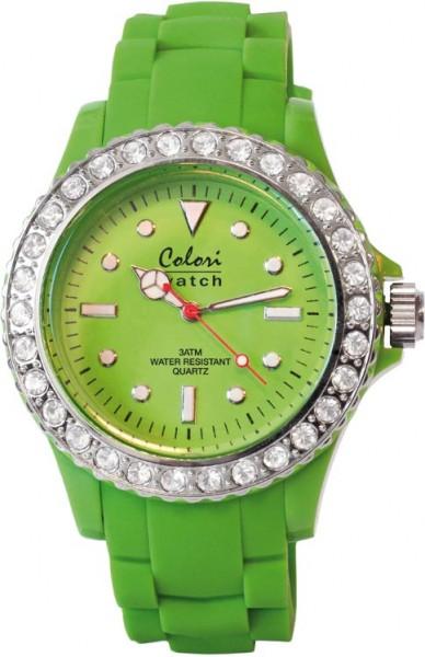 Bunte Uhren von Colori aus dem Hause Abramowicz, eine total stylische Quarzwerk Uhr mit grünem Ziffernblatt und im Dunkeln leuchtende Zeiger. Die Uhr zeichnet sich durch das Kratzunempfindliche Mineralglas aus, desweiteren besitzt die Uhr ein massives Ede