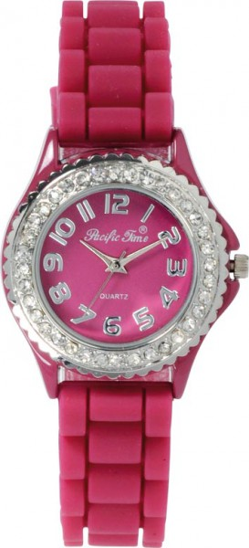 Crystal Blue Uhr, Quarzwerk Uhr Metallgehäuse in Pink Silikonband