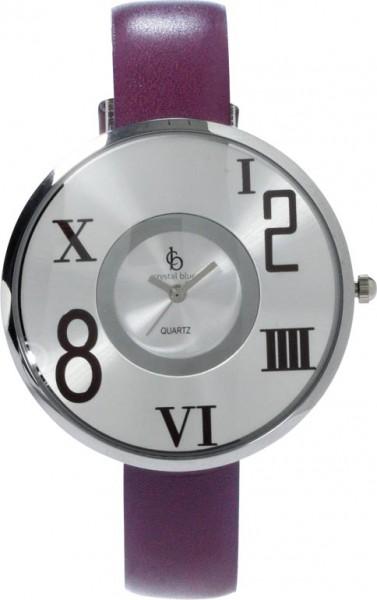 Uhr, eine absolut trendige Quarzwerk Uhr mit hellgrauem Ziffernblatt und Kratzunempfindlichem Mineralglas, desweiteren ist die Uhr mit einem Metallgehäuse und einem Lederband in Violett ausgestattet. Durchmesser 40 mm, Höhe 7 mm, Water Resistant Spritzwas