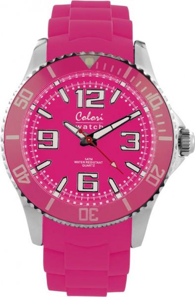 Bunte Uhren von Colori, eine absolut trendige Quarzwerk Uhr mit pinkem Ziffernblatt. Die Uhr hat ein Kratzunempfindliches Mineralglas, desweiteren besitzt die Uhr ein Edelstahlgehäuse und ein butterweiches und angenehmes Silikonband. Die Lünette ist in de