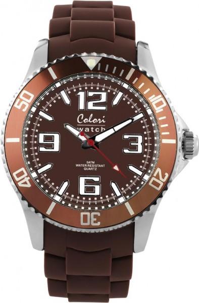 Bohlen hat  sBunte Uhren von Colori, eine absolut trendige Quarzwerk Uhr mit braunem Ziffernblatt. Die Uhr hat ein Kratzunempfindliches Mineralglas, desweiteren besitzt die Uhr ein massives Edelstahlgehäuse und ein butterweiches und angenehmes Silikonband