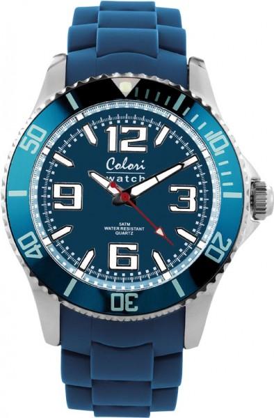 Bunte Uhren von Colori, eine absolut trendige Quarzwerk Uhr mit blauem Ziffernblatt. Die Uhr hat ein Kratzunempfindliches Mineralglas, desweiteren besitzt die Uhr ein massives Edelstahlgehäuse und ein butterweiches und angenehmes Silikonband. Die Lünette