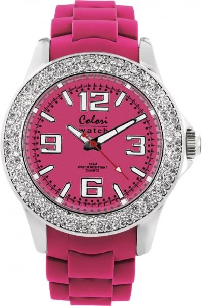 Bunte Uhren von Colori, eine total stylische Quarzwerk Uhr mit pinkem Ziffernblatt und im Dunkeln leuchtende Zeiger. Die Uhr zeichnet sich durch das Kratzunempfindliche Mineralglas aus, desweiteren besitzt die Uhr ein massives Edelstahlgehäuse und ein but