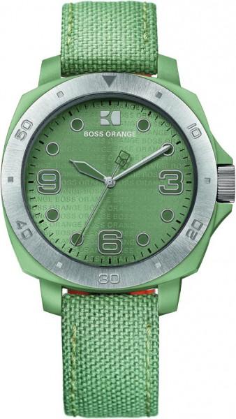 Boss Orange Uhr 1502287 Kunststoffgehäuse, Lünette Edelstahl, Nylonband grün, Mineralglas, 3 ATM, 40mm Durchmesser