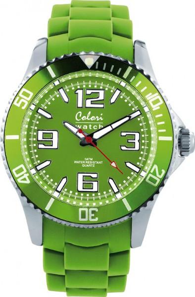 Bunte Uhren von Colori, ein wow Effekt bleibt nicht aus, eine total stylische Quarzwerk Uhr mit Ziffernblatt in der Farbe limonengrün und im Dunkeln leuchtende Zeiger. Die Uhr zeichnet sich durch das Kratzunempfindliche Mineralglas aus, desweiteren besitz