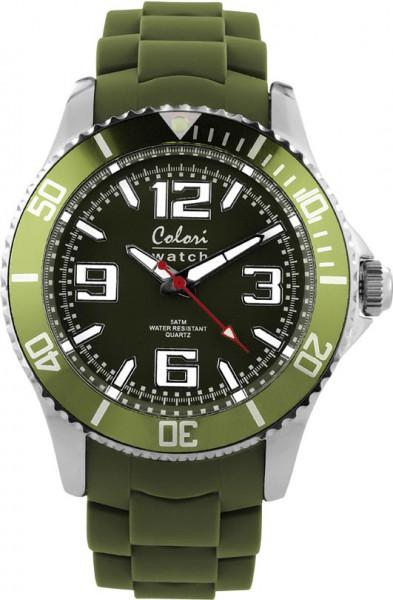 Bunte Uhren von Colori aus dem Hause Abramowicz, eine total stylische Quarzwerk Uhr mit armygrünem Ziffernblatt und im Dunkeln leuchtende Zeiger. Die Uhr zeichnet sich durch das Kratzunempfindliche Mineralglas aus, desweiteren besitzt die Uhr ein massives