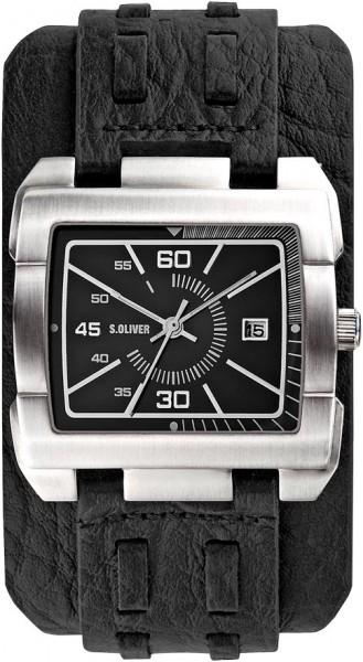 soliver Uhr SO-2049-LQ Quarzwerk, Edelstahlgehäuse matt, Lederband schwarz, Mineralglas, Datum, 5 ATM, 40x41mm