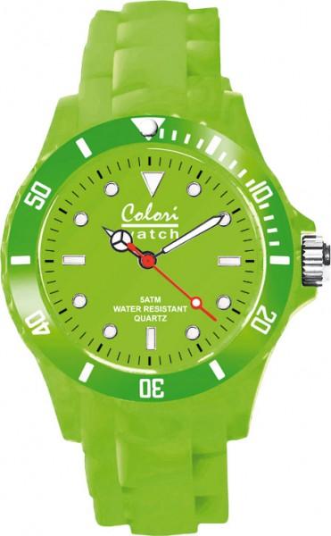 Colori Uhr, grün, 36mm, Silikonband, Quarzwerk.