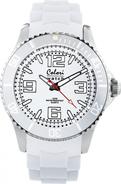 Colori Uhr, 40mm, weiß,Silikonband, 5 ATM