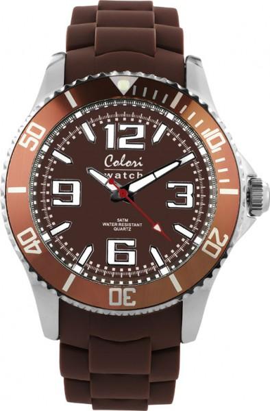 Colori Uhr, 40mm, schokoladenbraun, Silikonband, 5 ATM