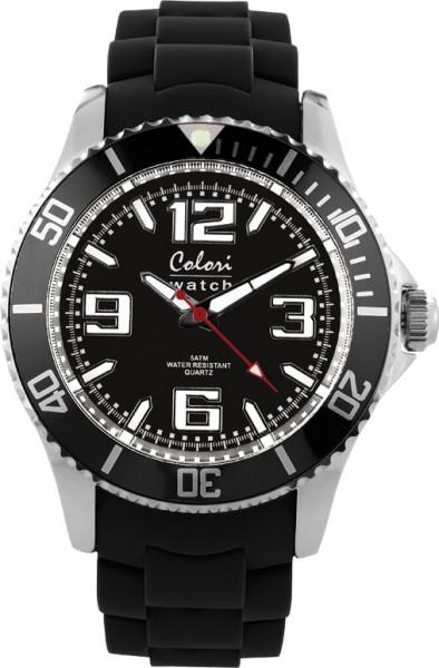 Colori Uhr, 40mm, schwarz, Silikonband, Metallgehäuse, Mineralglas, 5 ATM
