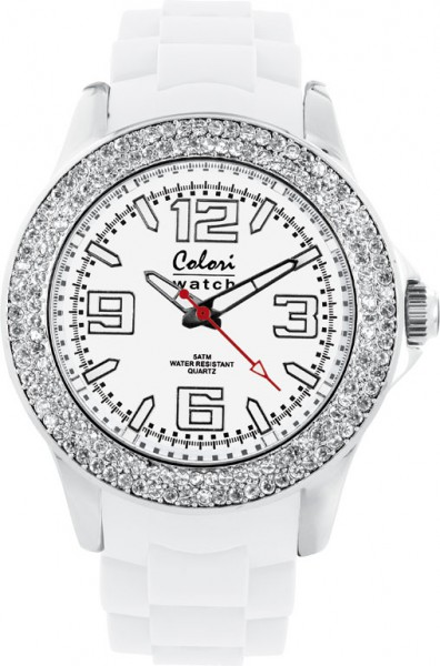 Colori Uhr, 40mm, weiß, Zirkoniasteine,...