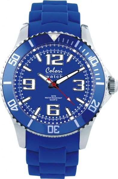 Bunte Uhren von Colori, eine absolut trendige Quarzwerk Uhr mit cobaltblauem Ziffernblatt. Die Uhr hat ein Kratzunempfindliches Mineralglas, desweiteren besitzt die Uhr ein massives Edelstahlgehäuse und ein butterweiches und angenehmes Silikonband. Die Lü